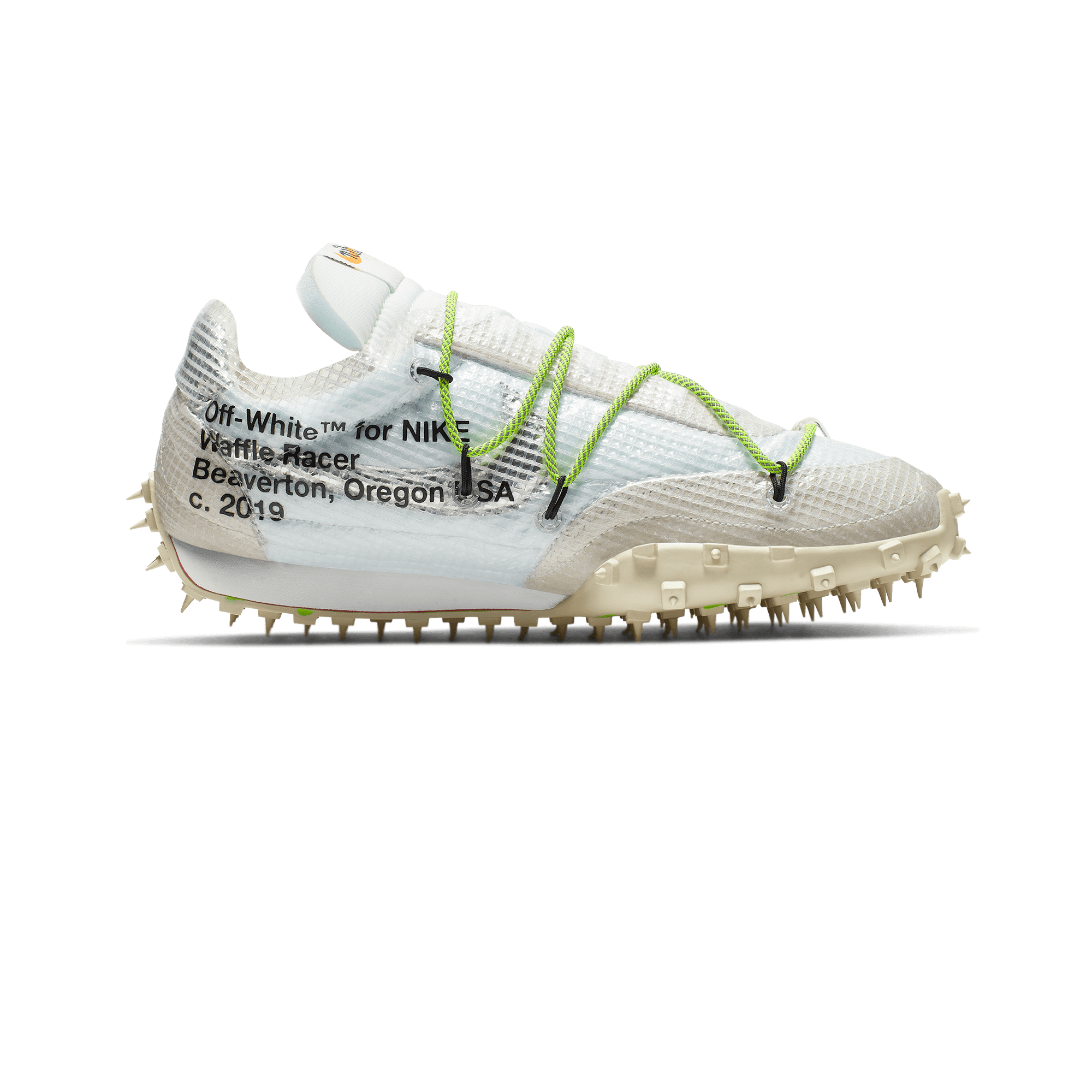 W Waffle Racer x Off White  white / black / electric green